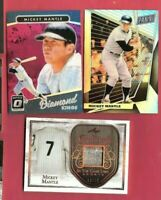 MICKEY MANTLE GAME USED JERSEY WITH STITCHING CARD #10/12 LEAF ENSHRINED + PRIZM