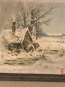 ANTIQUE WATERCOLOR PRINT / THE OLD MILL IN WINTER / 1893 / GAST N. Y./WHEEL SNOW