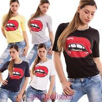 Maglia donna maglietta manica corta girocollo cotone bocca t-shirt nuova CC-1392