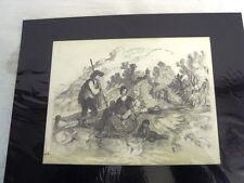 GUILLAUMET Gustave(1840-1887)AVANT LE PIQUE-NIQUE -DESSIN DU 19è CRAYON NOIR (J)