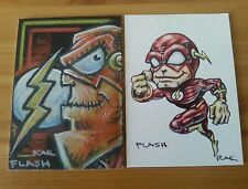 THE FLASH HAND DRAWN COLOUR SKETCH ART CARD BY RAK DC COMICS ACEO PSC