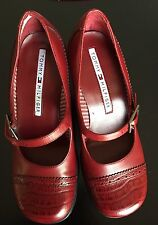 TOMMY HILFIGER  Red Block Heels  Mary Jane Leather Spectator  5M Nearly New