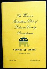 The Women's Republican Club of Delaware County 1973 Candidates Dinner Near Fine
