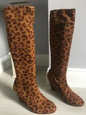 Boden Tan Brown Fuax Suede Leopard Print Wedge Heel knee High Sock Boots Sz 5