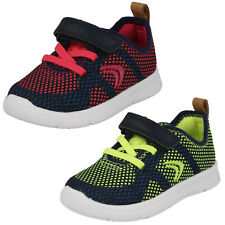 Childrens Clarks Ath Flux Hook & Loop Strap Casual First Trainers F & G Fittings