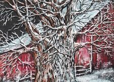 Country, Barn, Farm, Tree, Winter, Snow, Landscape, Christmas,  ACEO  by Vicki