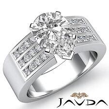Pera Diamante 3 Filas Juego Canal Anillo de Compromiso GIA G VS2 14k Oro Blanco
