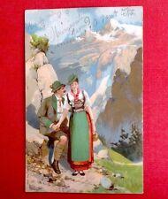CPA. 1903. Tyroliens. Couple. Amour. Montagnes.