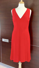 VALENTINO Pleated Red Wool Crepe Sleeveless V-Neck Dress Sz 8 /44 $1780 Worn One