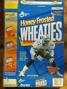 DEION SANDERS Prime Time HOF Cowboys 1995 HONEY FROSTED WHEATIES Cereal Box PC