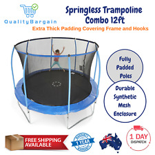 New 12ft Springless Trampoline Steelflex Safety Enclosure for Kids 6+ Years