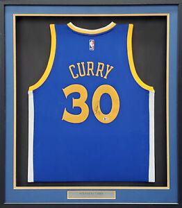 Warriors Stephen Curry Autographed Framed Nike Blue Jersey Beckett #T41013