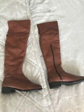 Dune Tan Leather Over Knee Boots 3