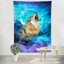Roaring Wolf Watercolor Cloud Moon Sky Tapestry Wall Hanging Living Room Bedroom