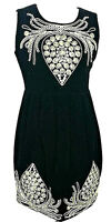 O & Y Womens Silk Cotton Black Velvet Gold Embroidered Party Sheath Dress Size S
