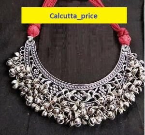 Indian Ethnic Oxidized Silver Choker Ghungroo Necklace Indian Jewelry