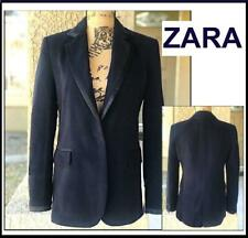 ZARA WOMAN NAVY BLUE VELVETEEN CONTRASTING BLAZER Size M 2253/181 BNWT $89.90