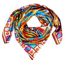 89046 LORENZO CANA - XXL Seidentuch Seidenschal Hijab 110 x 110 cm Rot Gelb