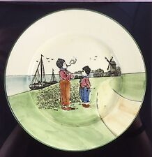 Antique Zell Germany Hand Painted Ceramic Dutch Boy Smoking Girl Windmill Plate