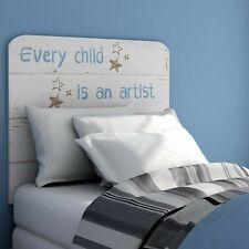 Cabezal o cabecero blanco y azul para dormitorio infantil 110x90 cm