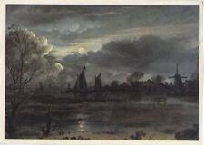 Alte Kunstpostkarte - Aert van der Neer - Mondscheinlandschaft