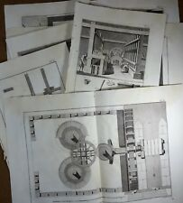 Lot Gravures Antique Print XVIIIe Poudre à Canon fabrication Moulin Diderot In-4