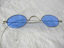 Vintage Antique BLUE LENS OVAL STEEL WIRE RIM GLASSES - SUN GLASSES #2