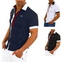 Carisma Herren Kurzarmhemd Freizeithemd Kontrast Business Hemd Poloshirt Slim %
