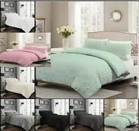 Luxuries SEERSUCKER Ruffle Pleated Duvet Cover+Pillow Case Bedding Set All Sizes