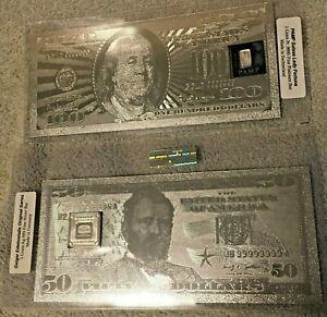1 Gram 9995 Fine Platinum & 5 Gram 999 Silver Bar in Rare Silver Foil Note* Set