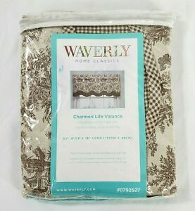"""Waverly Charmed Life Brown Linen Cotton Window Valance 52"""" x 18"""" New! Cotton"""