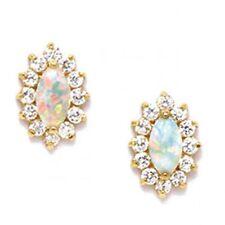 Women/Childrens Beautiful 14K Yellow Gold Opal/Sapphire Stud Screw Back Earrings
