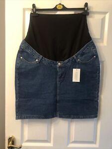 New Very Maternity Denim Over The Bump Skirt Size 14  Dark Wash