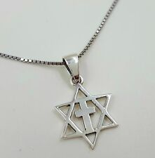 "925 Sterling Silver Star Of David With Cross MESSIANIC Pendant + 18"" Necklace"