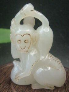 Antique Chinese Nephrite Celadon-HETIAN-JADE monkey Statue/Pendant QING3
