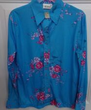 True Vintage Womens Size 38 Blue Floral Blouse 100% Polyester Nwt Shirt