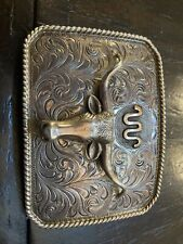 New ListingVintage King Ranch Silver Belt Buckle Steer Head Rodeo Texas Trophy 1 1/2� Belt