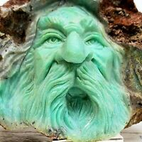 CHRYSOPRASE CARVING ~ Spirit Wizard Ooak ~ HAND CARVED in TIBET 1995