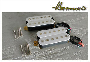Vintage Humbucker Alnico V Pick Up Set, Handgewickelt, Weiß, Top Sound