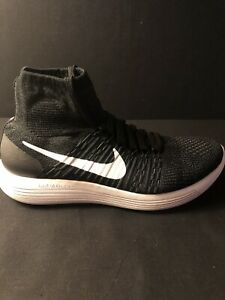 Nike Lunarepic Flyknit High Black Running Shoes Mens Size 10.5 819676-007 New