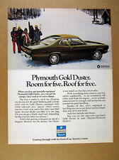1972 Plymouth Gold Duster car photo vintage print Ad