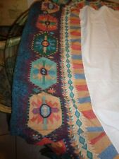"""Southwestern Aztec Pattern Colorful Unused Twin Bed Skirt Usa! Excellent 15""""D"""