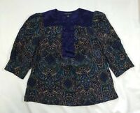 Women's Banana Republic 100% Silk Blue Paisley 3/4 Sleeve Top-Size S