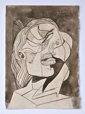 PABLO PICASSO -- A 1930s-1940s ORIGINAL CUBIST PAINTING, WOMAN, ESTATE STAMPED