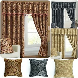 Luxury Pencil Pleat Fully Lined Ready Made Pair of Pelmet Curtains With Tiebacks