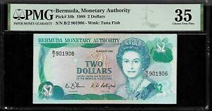Bermuda 2 Dollars  1989  PMG 35 Pick# 34b  Monetary Authority