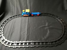 VINTAGE LEGO DUPLO  BLACK OVAL  TRAIN TRACK AND PUSH ALONG TRAIN