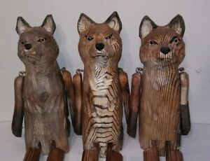 "Victorian Trading Co 1 Poseable Carved Wood Fox Shelf Sitter Figurine 14"" 15A"