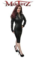 Misfitz blk leather look pencil mistress dress 2 way zip 8-32/made to measure TV