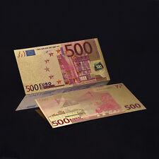 BILLETE ORO 500 EUROS EN COLOR 99,9% PURE GOLD 24K OFERTA NUEVO CERTIFICADO